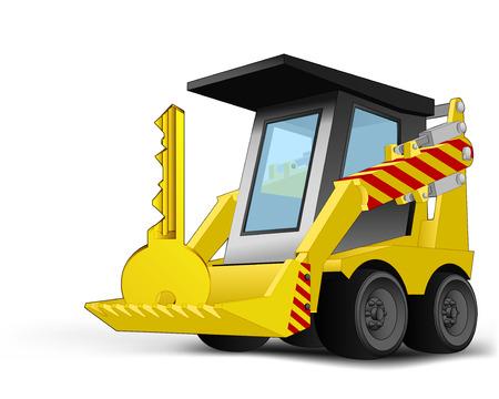 golden key: golden key on vehicle bucket transportation vector illustration