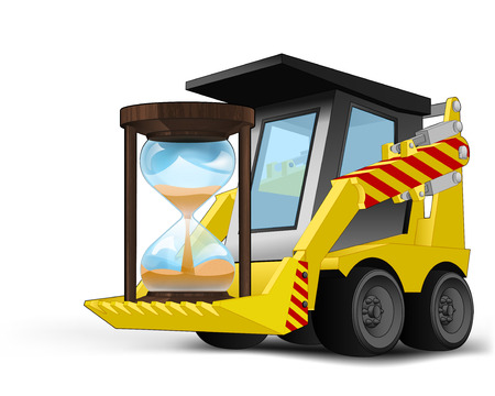 running hourglass on vehicle bucket transportation vector illustration Vector