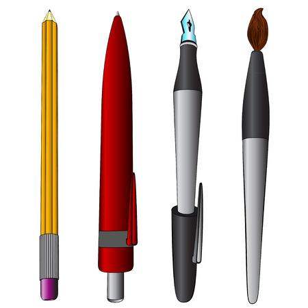 brush, pen,  pencil  collection  Vector