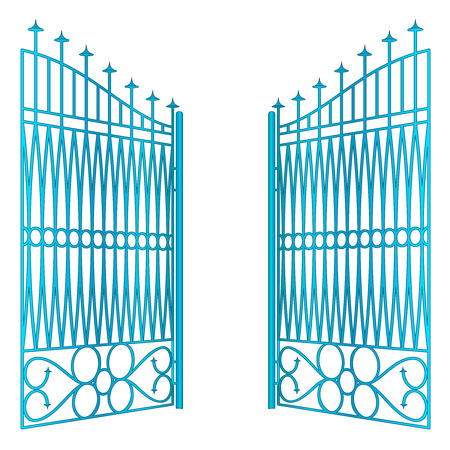 open blue iron gate fence vector illustration Vector