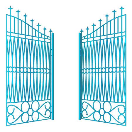 baroque gate:   open blue iron gate fence vector illustration Illustration