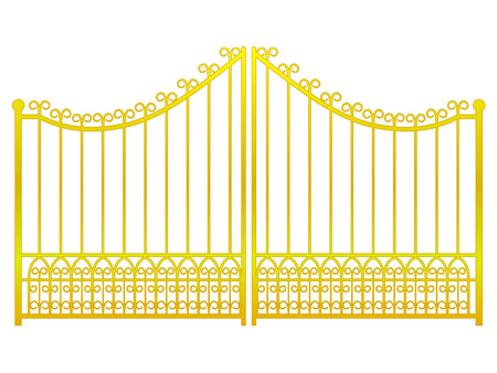 iron gate:   closed golden gate fence on white vector illustration