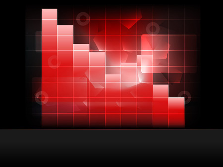negative red graph with columns in grid Vector