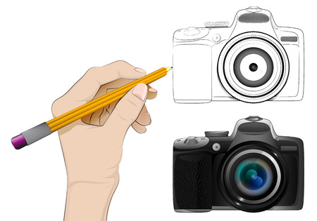 human hand drawing camera Vector