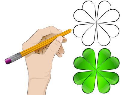 human hand drawing cloverleaf Vector