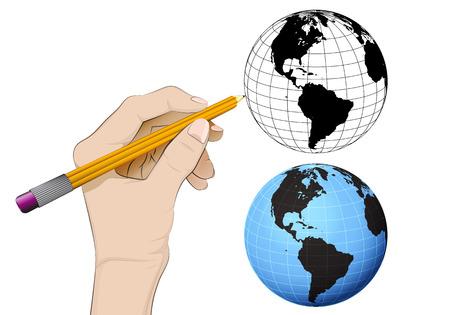 human hand drawing America world globe Vector