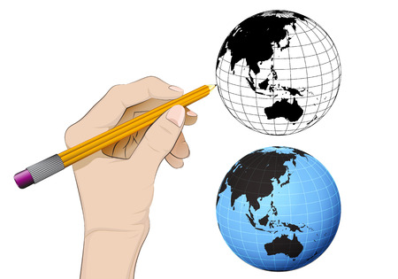 Asia world globe as isolated human hand drawing vector illustration Vector