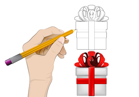 human hand drawing gift box Vector