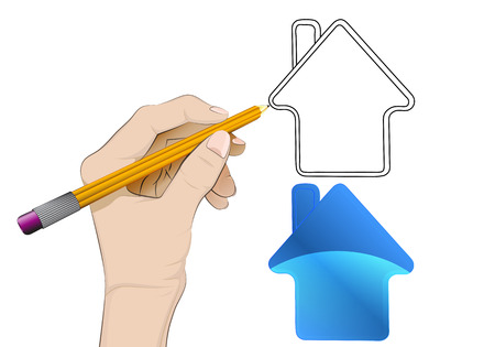 human hand drawing house icon Vector