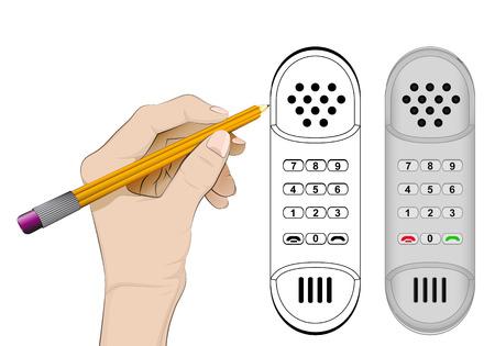 human hand drawing retro phone Vector