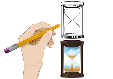 human hand drawing running hourglass Vector