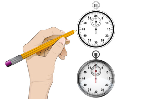 human hand drawing stopwatch Vector