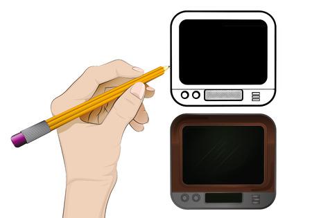 human hand drawing television Vector