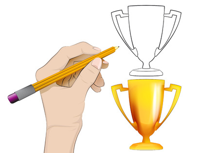 human hand drawing champion cup Vector