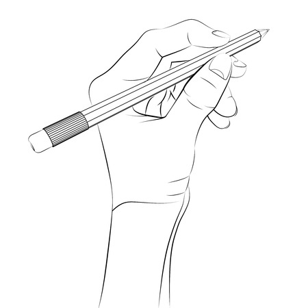 human hand holding pencil Vector