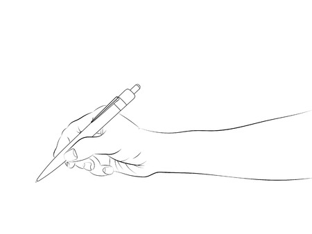 Line Drawing Holding Hands : Human hand holding pencil royalty free cliparts vectors and