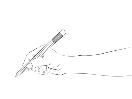 human hand side view holding pencil   Vector