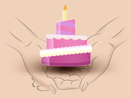 Holding a candle cake in hands Vector