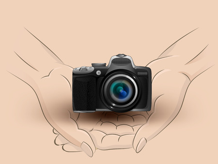 Holding a camera in hands Vector