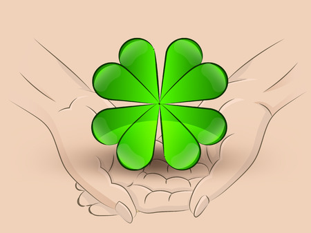 Holding a cloverleaf in hands Vector