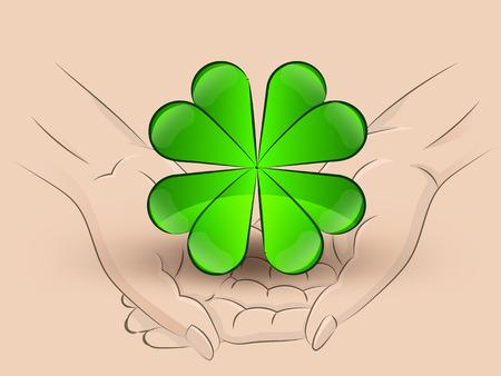 cloverleaf: Holding a cloverleaf in hands