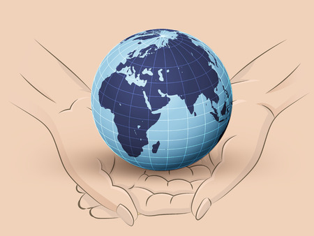 Holding earth world in two hands Vector