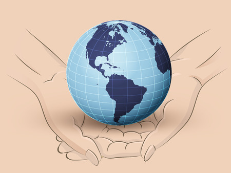 Holding America earth world in two hands Vector