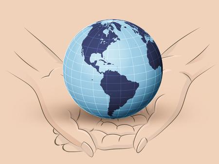 Holding América del mundo de la tierra en dos manos