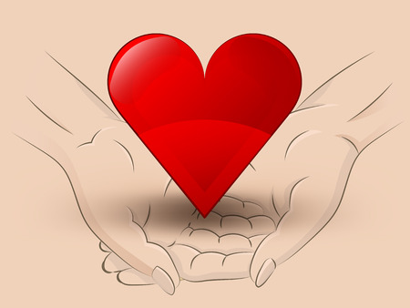 Holding red heart in two hands Vector