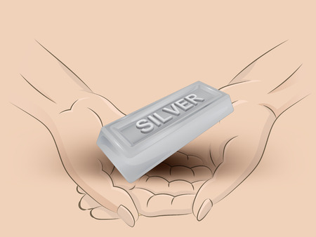 silver bar: Holding silver bar in two hands Illustration