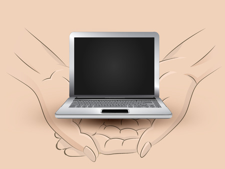 Holding new laptop in two hands Vector