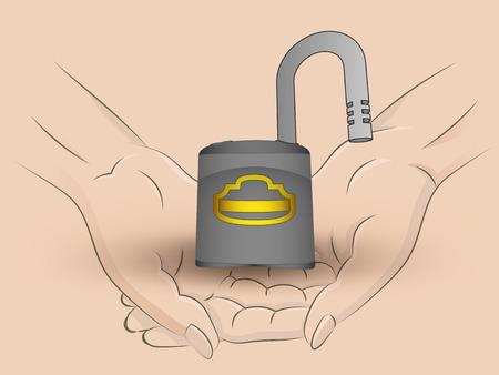 Holding open padlock in two hands Vector