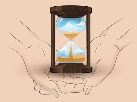 Holding wooden sand glass in two hands Vector