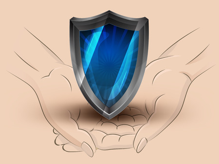 Holding a defensive shield in two hands Illustration