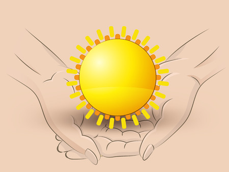 Holding a sun in two hands Vector