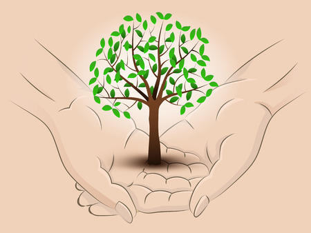 Holding a tree in two hands Vector