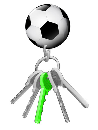 one isolated: football on key ring with green one isolated vector illustration