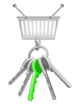 one isolated: shopping basket on key ring with green one isolated vector illustration Illustration
