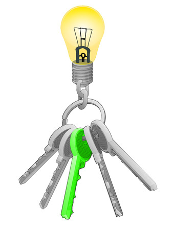 one isolated: yellow lightbulb on key ring with green one isolated vector illustration Illustration