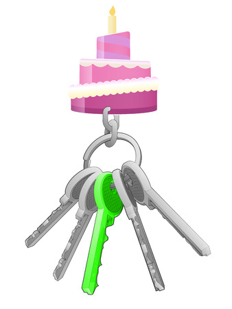 one isolated: fancy cake on key ring with green one isolated vector illustration Illustration