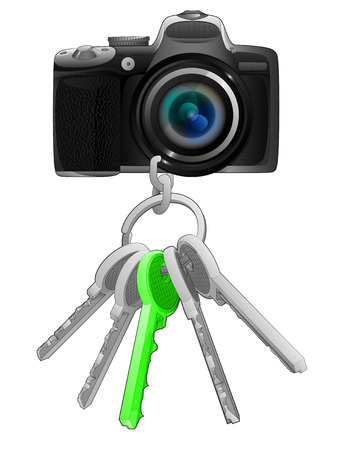 one isolated: camera on key ring with green one isolated vector illustration
