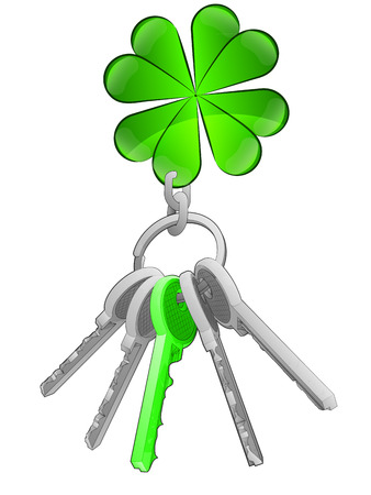 felicity: cloverleaf happiness on key ring with green one isolated vector illustration