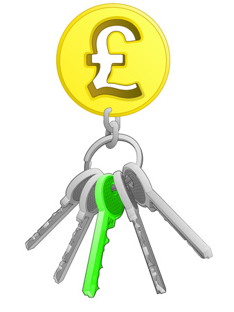 one isolated: golden Pound coin on key ring with green one isolated vector illustration