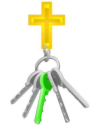 one isolated: golden cross on key ring with green one isolated vector illustration