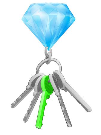 one isolated: diamond on key ring with green one isolated vector illustration