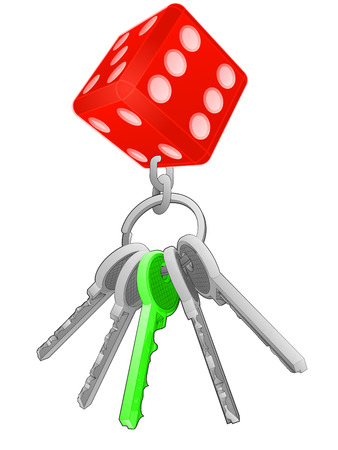 one isolated: lucky dice on key ring with green one isolated vector illustration