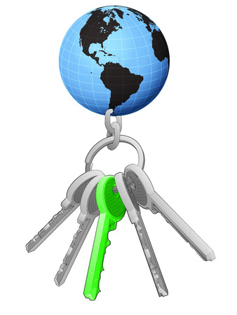 one isolated: America world globe on key ring with green one isolated vector illustration