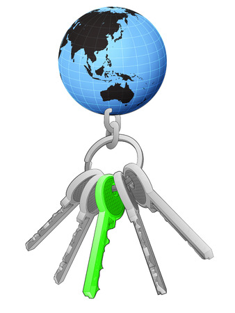 one isolated: Asia world globe on key ring with green one isolated vector illustration