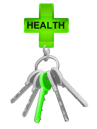 one isolated: health icon on key ring with green one isolated vector illustration