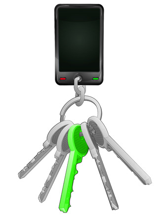 one isolated: new smart phone on key ring with green one isolated vector illustration Illustration